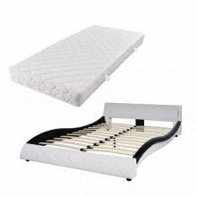 "VID PU bőr ágy 140x200 cm ""V20"" matraccal, fehér-fekete színben"