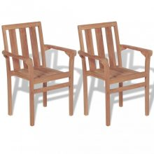 VID 2 db rakásolható tömör tíkfa kerti szék