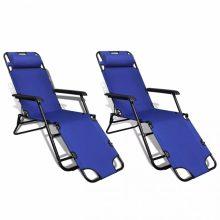 VID 2 db karfás napozóágy - kék
