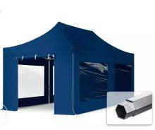 Professional összecsukható sátrak PROFESSIONAL 400g/m2 ponyvával, alumínium szerkezettel, 4 oldalfallal, panoráma ablakkal - 3x6m sötétkék