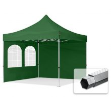 Professional összecsukható sátrak PROFESSIONAL 400g/m2 ponyvával, alumínium szerkezettel, 2 oldalfallal, hagyományos ablakkal -  3x3m zöld