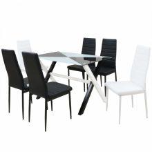 7 darabos műbőr étkező garnitúra készlet üveglapos asztallal