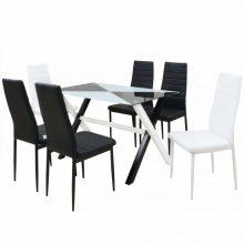 VID 7 darabos műbőr étkező garnitúra készlet üveglapos asztallal