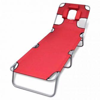 VID Összecsukható napozóágy fejpárnával és állítható háttámlával - piros