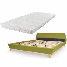 VID Kárpitozott ágy ágyráccsal, matraccal, 180x200 cm, zöld színben
