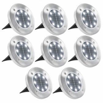 VID 8 darab fehér napelemes talajba szúrható LED lámpa
