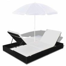 Kerti luxus polyrattan kétszemélyes napozóágy fekete színben