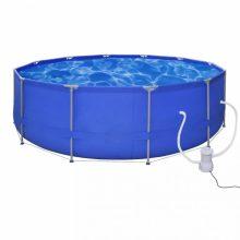 Fémvázas medence vízforgatóval [457 x 122 cm] - kerek