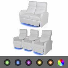 VID TV fotel/mozi fotel LED fénnyel - kétszemélyes fehér