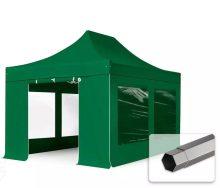 Professional összecsukható sátrak PREMIUM 3x4,5m-400g/m2 ponyvával-acélszerkezettel-zöld