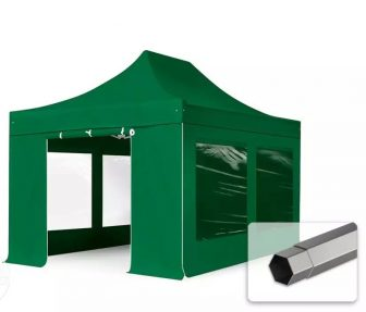 Professional összecsukható sátrak PREMIUM 3x4,5m-350g/m2 ponyvával-acélszerkezettel-zöld
