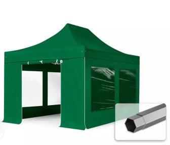 Professional összecsukható sátrak PREMIUM 350g/m2 ponyvával, acélszerkezettel, 4 oldalfallal, panoráma ablakkal - 3x4,5m zöld