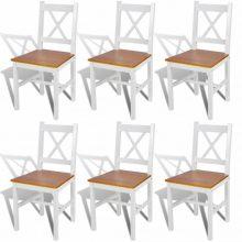 6 db-os fa étkezőszék szett fehér-barna színben