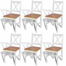 VID 6 db-os fa étkezőszék szett fehér-barna színben