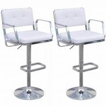 2db bárszék műbőr üléssel, karfával - fehér színben