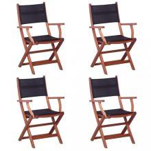 VID 4 darab fekete tömör eukaliptuszfa és textilén kültéri szék