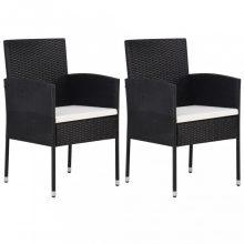 VID Fekete polyrattan kerti szék szett