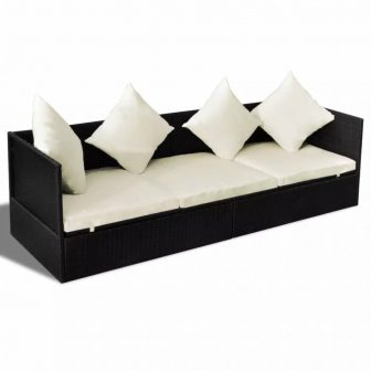 VID Polyrattan kanapé, napozóágy párnákkal, Fekete