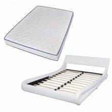 """PU bőr ágy 140x200 cm """"V22"""" memóriahabos matraccal, fehér színben"""