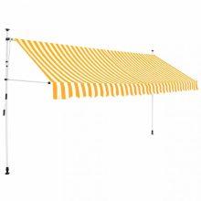 VID Manuális feltekerhető napellenző - 400 cm - sárga fehér csíkokka