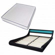 "VID PU bőr LED ágy 180x200 cm ""V22"", memóriahabos matraccal, fekete színben"
