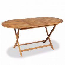 VID Összecsukható tíkfa kültéri asztal [160 x 80 x 75 cm]