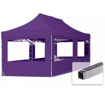 Professional összecsukható sátrak ECO 300 g/m2 ponyvával, alumínium szerkezettel, 4 oldalfallal + 6 ablakkal - 3x6m lila