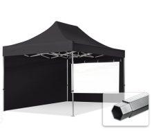 Professional összecsukható sátrak PROFESSIONAL 400g/m2 ponyvával, alumínium szerkezettel, 2 oldalfallal, panoráma ablakkal - 3x4,5m fekete