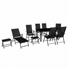 10 részes összecsukható fekete alumínium kerti bútor szett