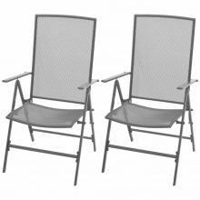 VID 2 db kültéri összecsukható acélhálós szék