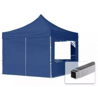 Professional összecsukható sátrak ECO 300 g/m2 ponyvával, alumínium szerkezettel, 4 oldalfallal - 3x3m sötétkék