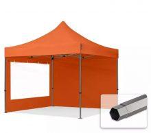 Professional összecsukható sátrak PREMIUM 350g/m2 ponyvával, acélszerkezettel, 2 oldalfallal, panoráma ablakkal - 3x3m narancssárga