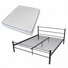 """VID Fém ágy 140x200 cm """"V07"""", memóriahabos matraccal, fekete színben"""