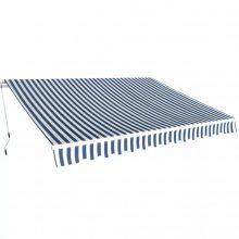 VID Manuálisan működtethető napellenző - 350 cm - kék és fehér