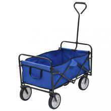 VID összecsukható kék acél kézikocsi, kertikocsi, strandkocsi
