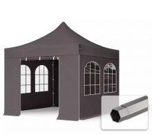 Professional összecsukható sátrak PREMIUM 350g/m2 ponyvával, acélszerkezettel, 4 oldalfallal, hagyományos ablakokkal - 3x3m sötétszürke