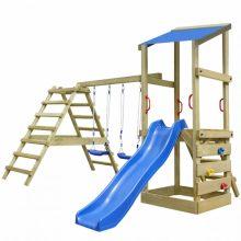 Univerzális kerti játszótér / játszóház mászókával, hintákkal, homokozóval és csúszdával 356 x 255 x 235 cm