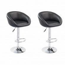 2db emelhető lounge szék/bárszék - fekete színben