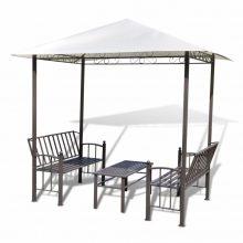 Pavilonos kerti sátor asztallal és padokkal