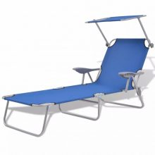 VID Összecsukható napozóágy / nyugágy napellenzővel és karfával - kék