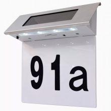 Napelemes rozsdamentes acél kültéri lámpa házszámmal