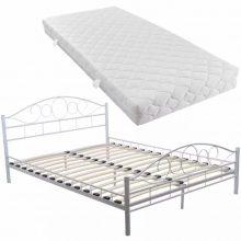 """Fém ágy 180x200 cm """"V2"""", matraccal, fehér színben"""