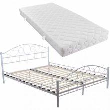 """VID Fém ágy 180x200 cm """"V2"""", matraccal, fehér színben"""