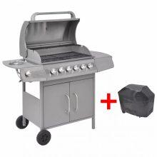 Gáz grillsütő 6+1 gázrózsával, ajándék takaróponyva, ezüst színben