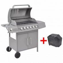 VID Gáz grillsütő 6+1 gázrózsával, ajándék takaróponyva, ezüst színben