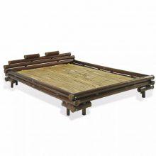 """VID Sötétbarna bambusz ágykeret 140x200 cm """"V03"""", bambusz ágyráccsal"""