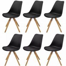 6 db bükkfa/műbőr szék fekete színben