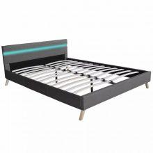 """VID Kárpitozott ágy 140x200 cm """"V10"""" LED világítással, világosszürke színben"""