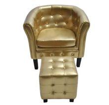 VID aranyszínű műbőr fotel lábzsámollyal