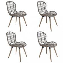VID 4 db barna rakásolható természetes rattan kültéri szék